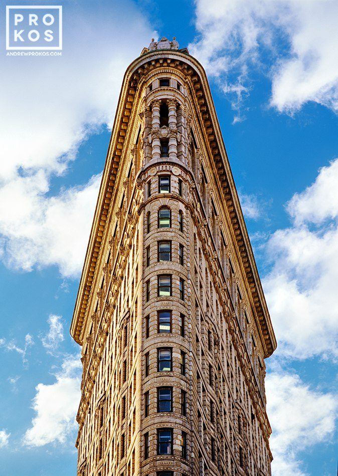 A fine art architectural photo of the Flatiron Building in color, New York, NY