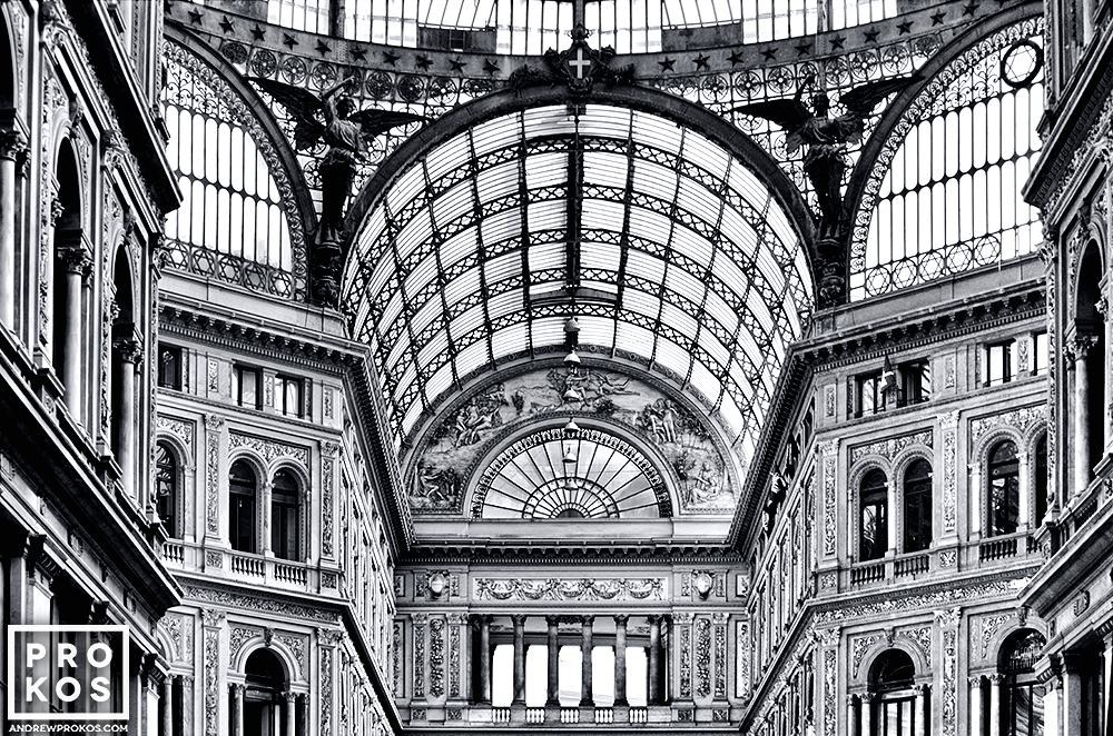 Ablack and white view of the interior of the Galleria Vittorio Emanuele, Naples, Italy