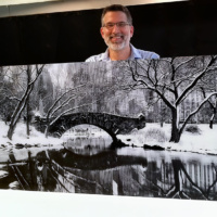 A 72 inch panoramic view of Central Park's Gapstow Bridge in winter, New York City. Gallery mounted with 1/4 acrylic.