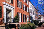 An architectural photo of colonial row houses along O Street in Georgetown in Washington DC