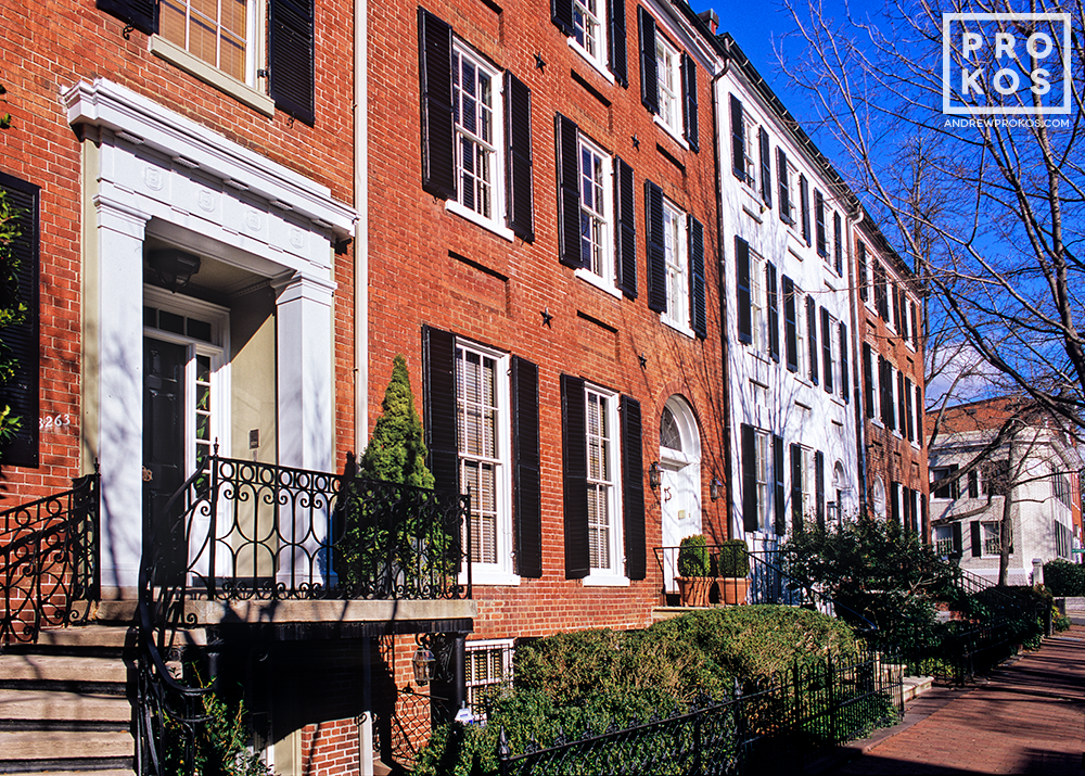Colonial row houses along O Street in Georgetown, Washington DC