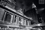 A black and white fine art photo of Grand Central Station at night, New York City
