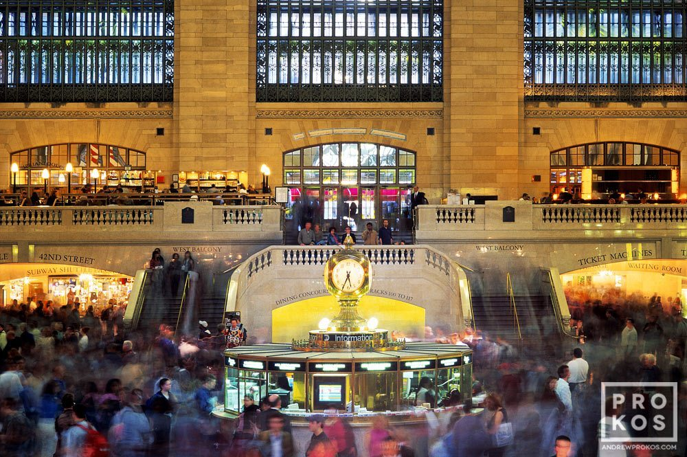 A fine art photograph of the interior of Grand Central Station (Terminal) at rush hour, New York City