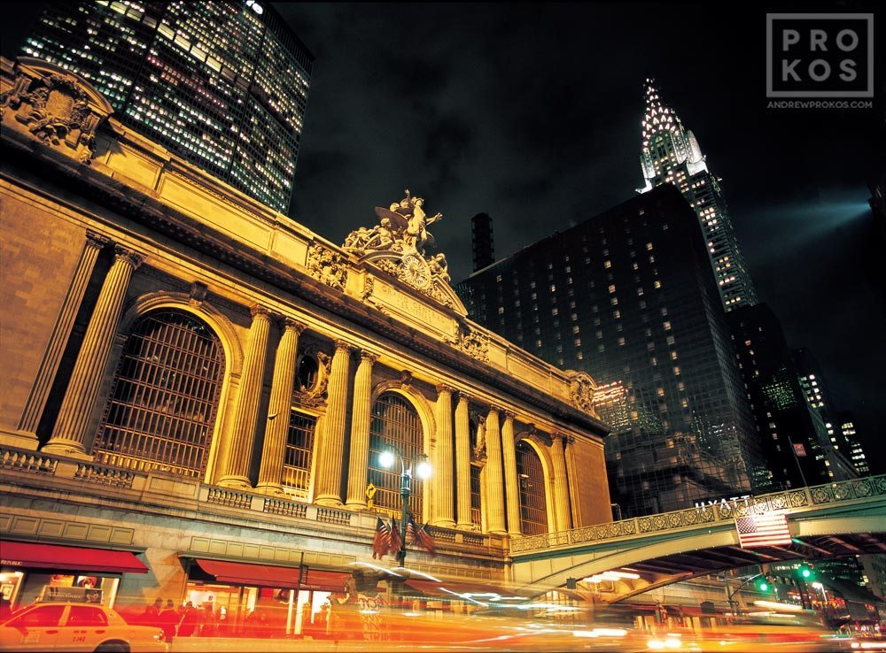A fine art photo of the exterior of Grand Central Station at night, New York City