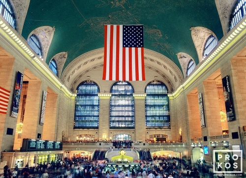 A high-definition long-exposure photo of the interior of Grand Central Station in color, New York City