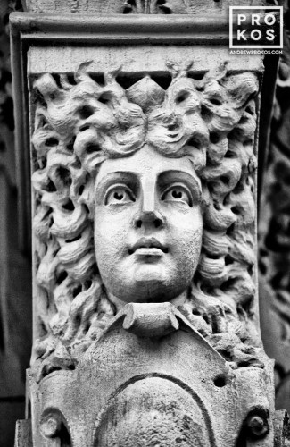 An caryatid from the facade of a Greenwich Village brownstone, New York City