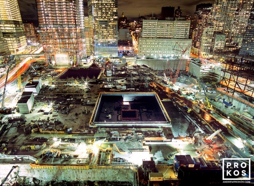 A view of Ground Zero at night, New York City