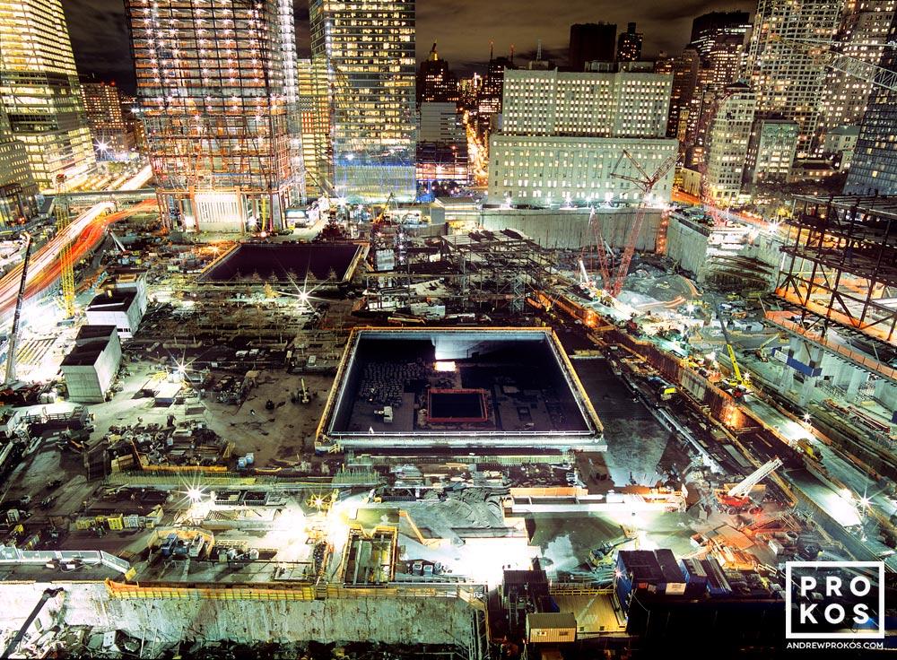 A view of Ground Zero at night, New York City