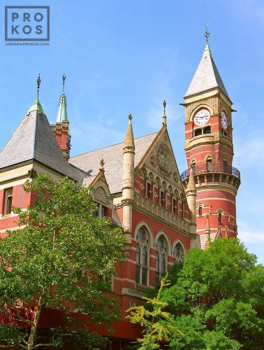 An architectural exterior photo of Jefferson Market Library in Greenwich Village, New York City