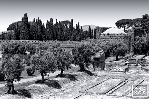 A black and white landscape photo from Hadrian's Villa near Tivoli, Italy