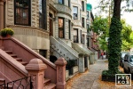 A block of elegant Brownstones in Harlem, New York City
