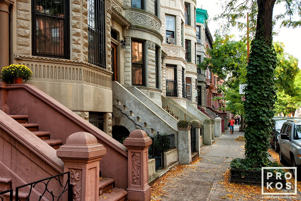 A fine art architectural photo of the elegant brownstones in Harlem, New York City