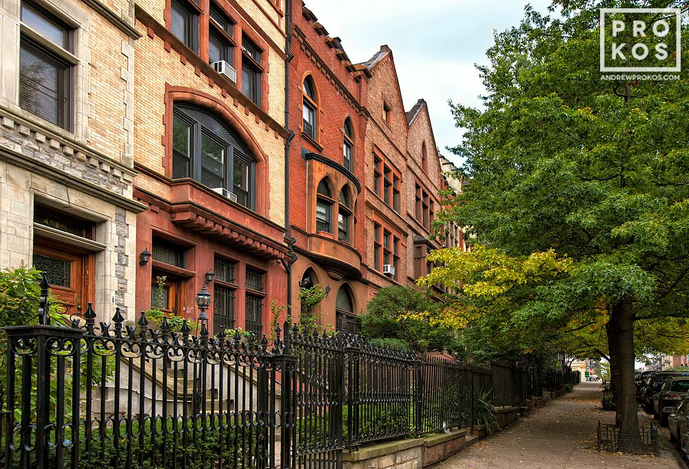 Elegant brownstones in the Sugar Hill area of Harlem, NYC