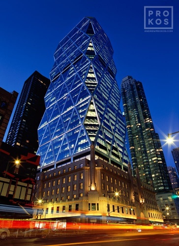 A dusk view of Hearst Tower by Foster + Partners, New York City.