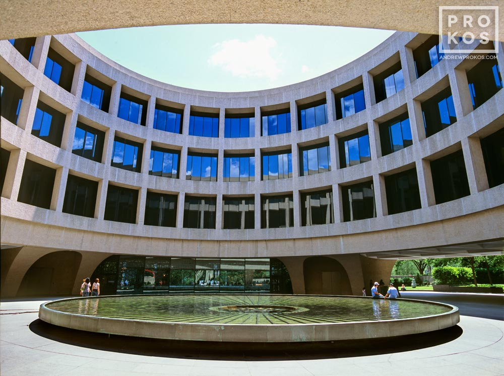 A view of the Hirshhorn Museum and plaza, Washington DC