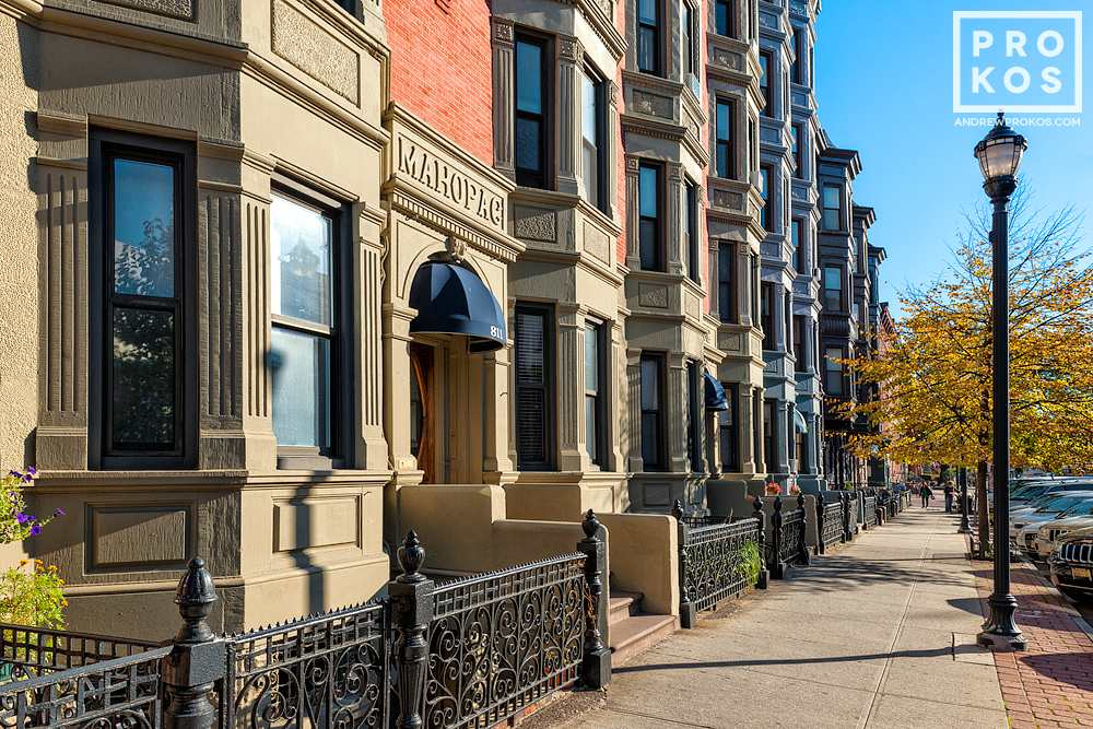 An architectural photo of the facades along Washington Street in Hoboken, New Jersey