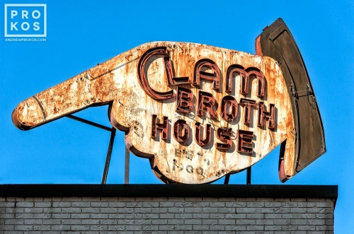 "An abandoned sign reading ""Clam Broth House"" in Hoboken, New Jersey"