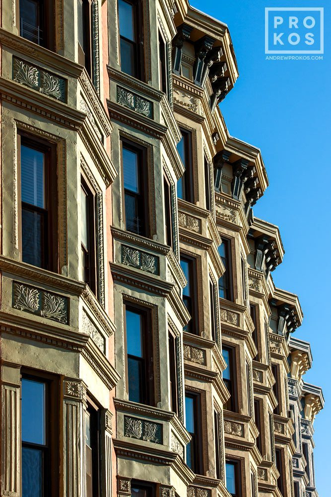 An architectural fine art photo of ornate tenement facades along Washington Street in Hoboken, New Jersey