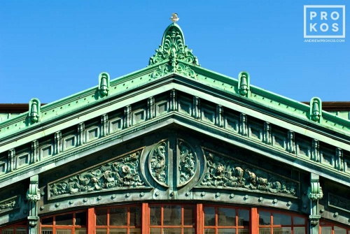 An architectural detail photo of the ornate pediment of Hoboken Station, Hoboken, New Jersey