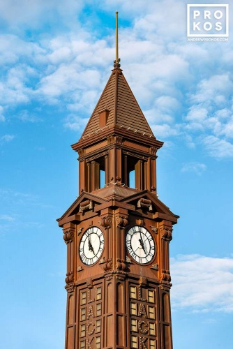 A view of the clock tower at Hoboken Terminal, New Jersey.