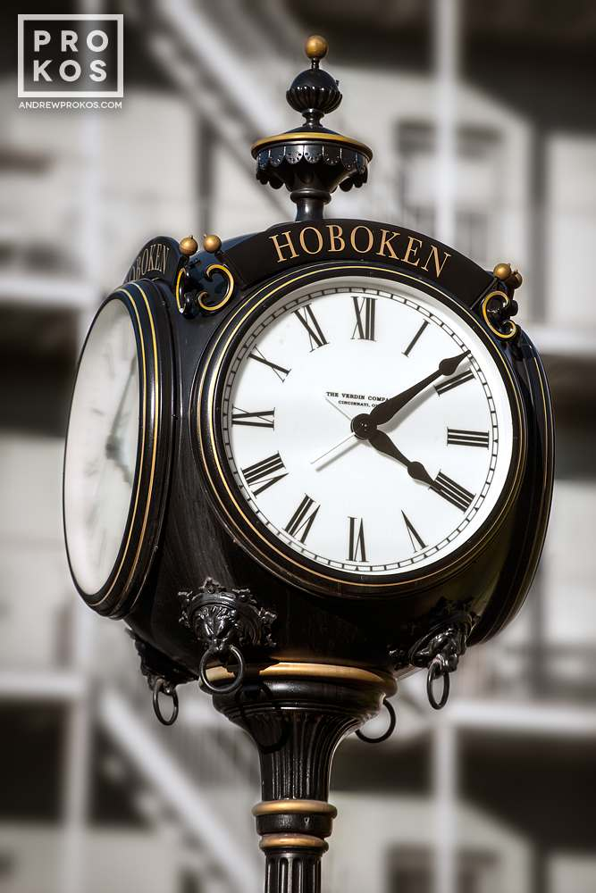A fine art architectural photo of one of the many Victorian street clocks in Hoboken, New Jersey