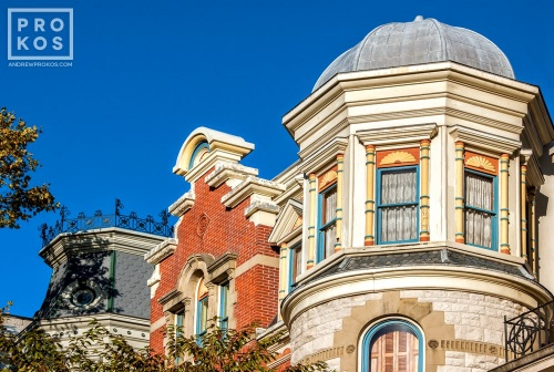 A row of stately Victorian homes along Hudson Street in Hoboken, New Jersey
