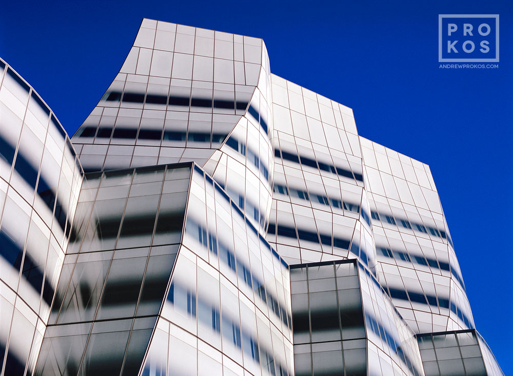 A photograph of the exterior of the Interactive Corp. (IAC) Building in New York City by architect Frank Gehry. Fine art prints of this photo are available framed in various styles.
