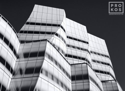 A black and white fine art architectural photo of the exterior of the IAC Building in New York City