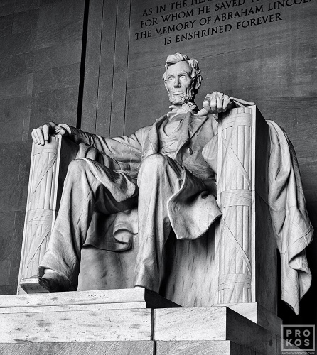 A black and white fine art photo of the colossal seated statue of Abraham Lincoln found inside the Lincoln Memorial in Washington DC