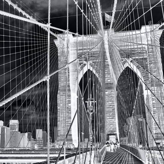 Ablack and white limited edition gallery photograph of the Brooklyn Bridge, from Andrew's fine art series Inverted.