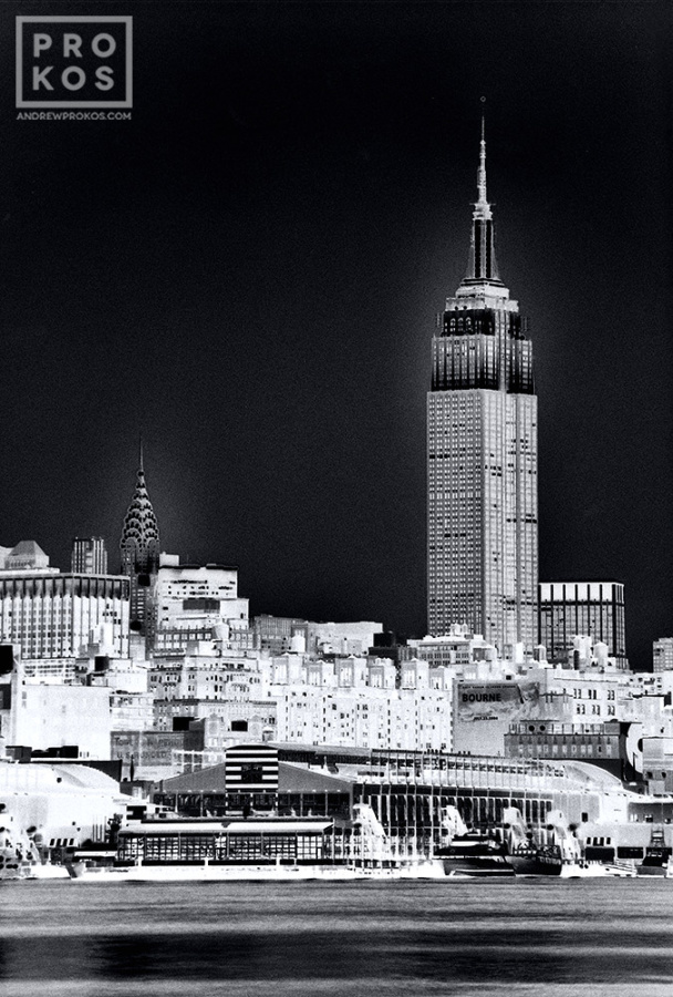 A large-format black and white view of the Empire State Building, from Andrew's fine art series Inverted.