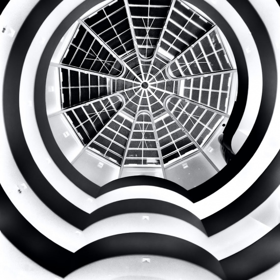 Ablack and white limited edition gallery photograph of the interior of the Guggenheim Museum, from Andrew's fine art series Inverted.