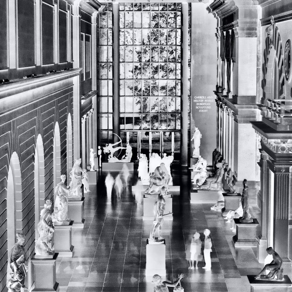 Ablack and white limited edition gallery photograph of the interior of the Metropolitan Museum, from Andrew's fine art series Inverted.