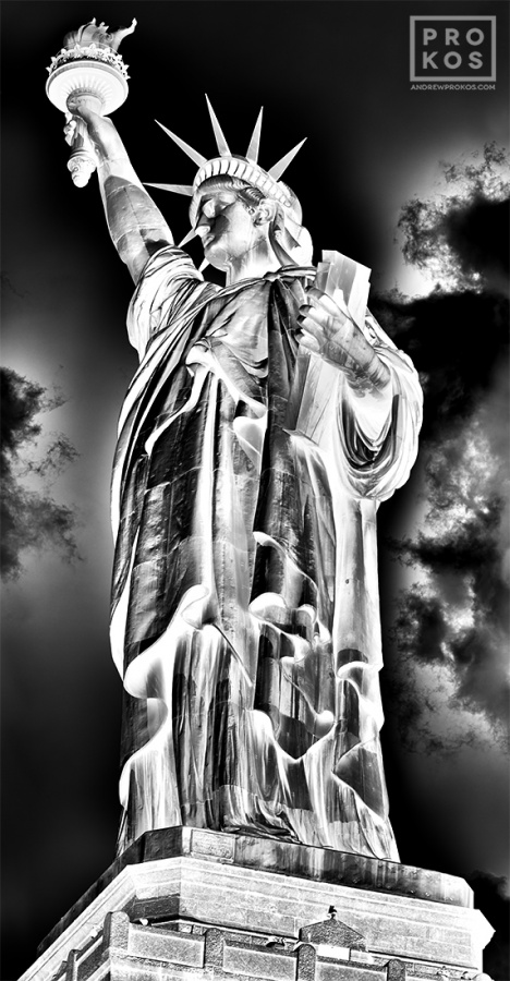 Alarge-format black and white photograph of the Statue of Liberty, from Andrew's fine art series Inverted.