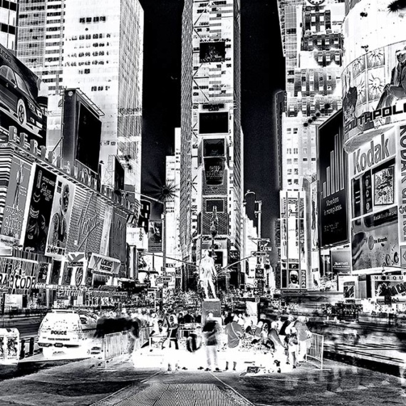 "A view of Times Square NYC shot with long-exposure time. From the fine art photography series ""Inverted"" by photographer Andrew Prokos"