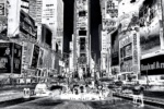 A large-format black and white photograph of Times Square at night, from Andrew's fine art series Inverted.