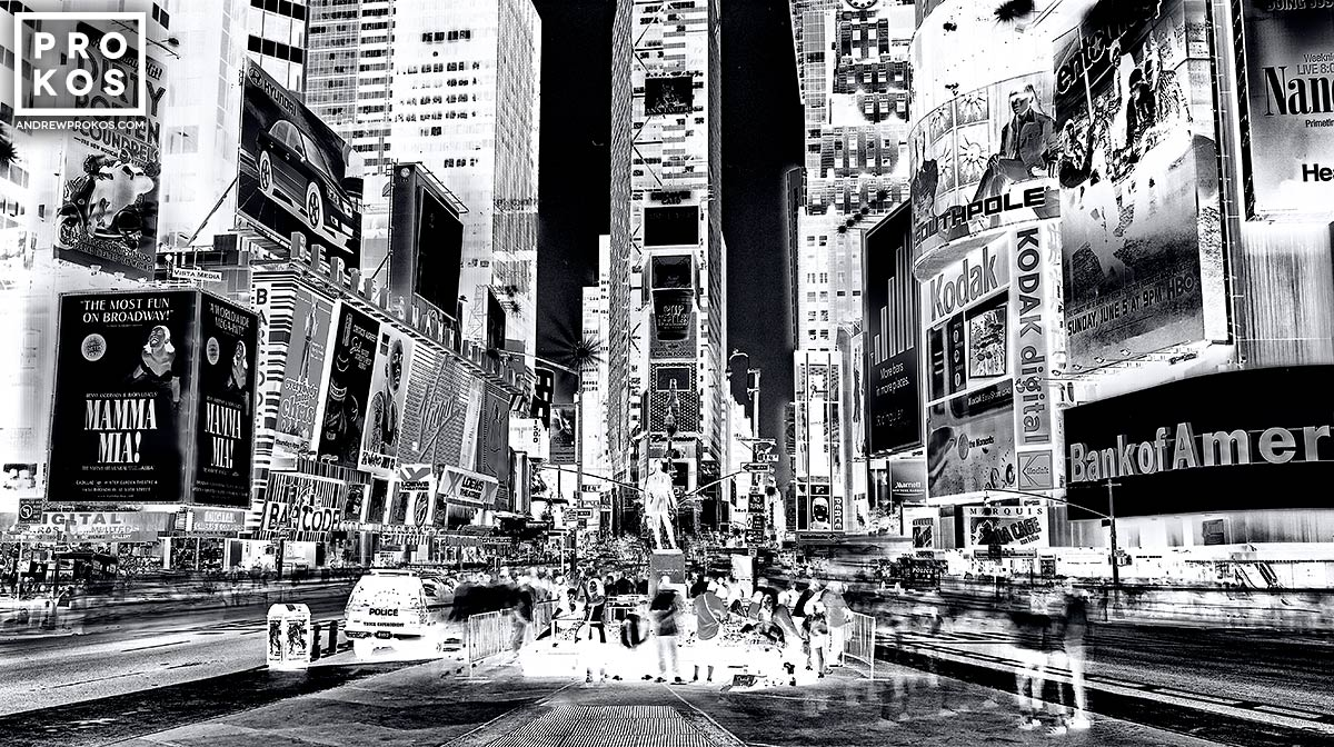 Alarge-format black and white photograph of Times Square at night, from Andrew's fine art series Inverted.