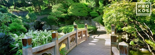 A panoramic landscape photo of the bridge in the Japanese garden at the Brooklyn Botanic Gardens