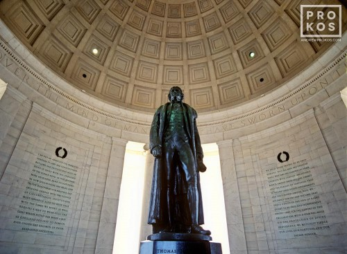 The interior of the Jefferson Memorial with bronze statue of Thomas Jefferson, Washington DC