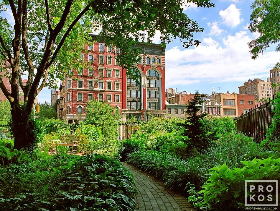 A view of Jefferson Market garden in Greenwich Village, New York City