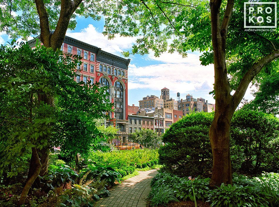 A landscape photo from Jefferson Market garden in Greenwich Village, New York City