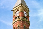 An architectural fine art photo of the clock tower of Jefferson Market Library in Greenwich Village, New York City