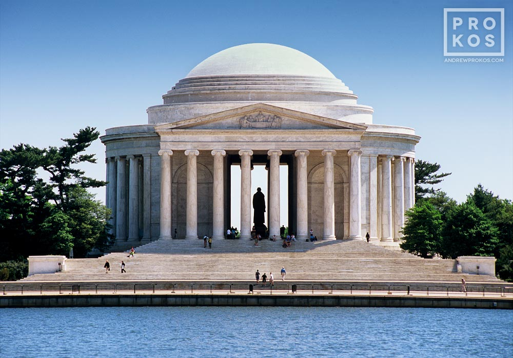 A high-definition landscape photo of the Jefferson Memorial and Tidal Basin in Washington DC