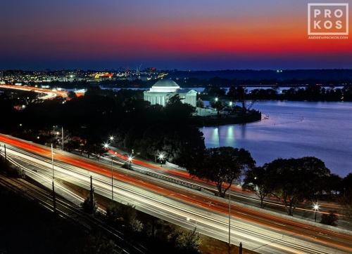 A long-exposure cityscape photo of the Jefferson Memorial and Tidal Basin at dusk, Washington DC