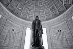 The interior of the Jefferson Memorial with bronze statue of Thomas Jefferson, Washington DC in black and white