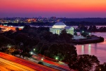 An ultra high-definition panoramic photograph of the Jefferson Memorial and Tidal Basin at dusk, Washington DC. Large-format framed prints of this photo are available up to 120 inches wide.