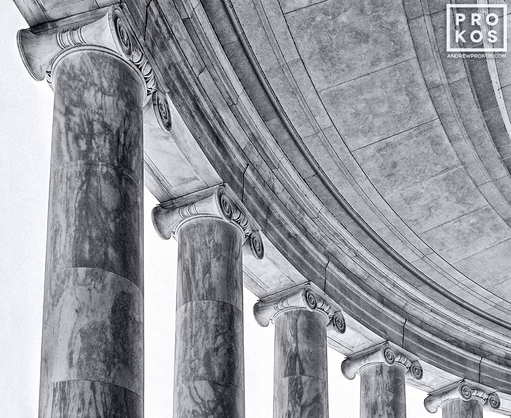 A black and white fine art architectural photo of the columns of the Jefferson Memorial, Washington DC