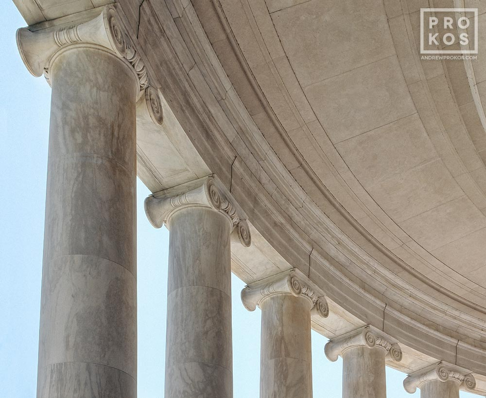 A fine art architectural photo of the Ionic columns of the Jefferson Memorial, Washington DC