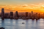 A high-definition panoramic view of Jersey City, New Jersey and the Hudson River at sunset. Fine art prints of this photo are available framed in various styles.