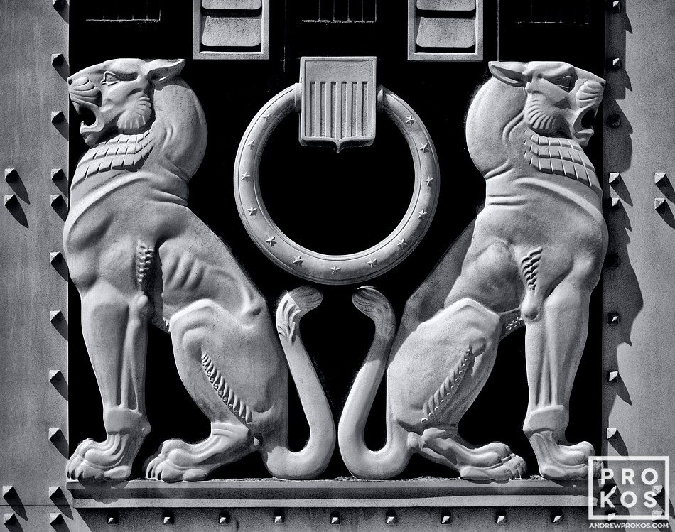 An architectural detail of two lions from the doors of the US Justice Department, Washington DC